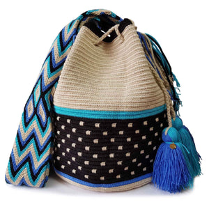 black and white polka dot wayuu mochila bag