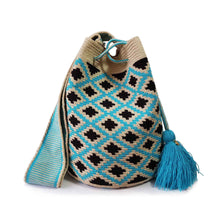 Load image into Gallery viewer, blue floral handmad wayuu mochila bag