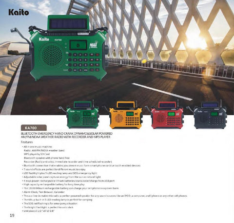 KA700 Bluetooth Emergency Hand Crank Dynamo & Solar Powered Emergency Radio