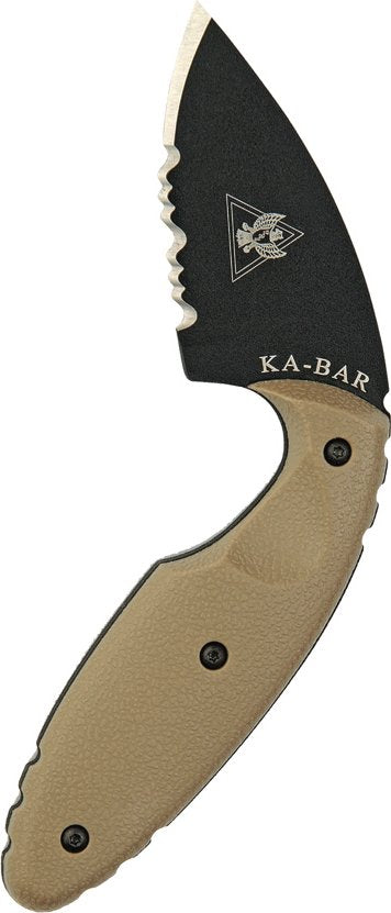 Ka-Bar TDI Law Enforcement Clip Partial Serrated, Coyote Brown, Hard Sheath (Clam Pack) - Forethought Survival Essentials