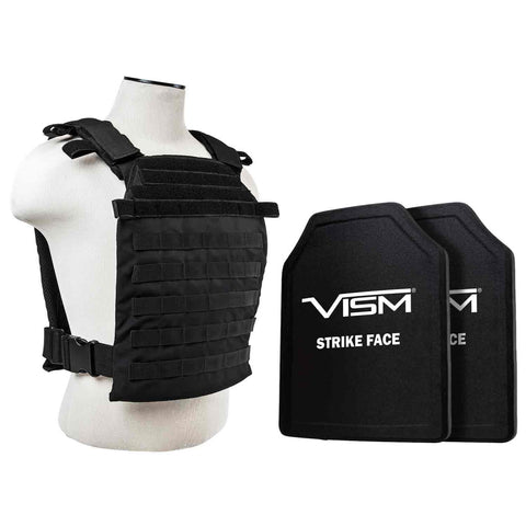 "NcStar Fast Plate Carrier with 10"" x 12"" Level III+ PE Shooter's Cut 2X Hard Ballistic Plates"