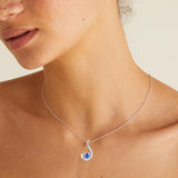 FANY Jewelry 0.39 ct Natural African Blue Sapphire Loose Gemstone Excellent Cut 0.925 Argentium Silver Necklace