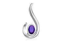 FANY Jewelry Women's Excellent Cut 14 Solid White Gold Amethyst Natural Mined Gemstone Pendant
