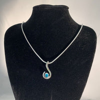 FANY Jewelry White Gold Turquoise Gemstone December Birthstone 14 Solid Gold Necklace Pendant With Natural Mined Gemstone Excellent Cut