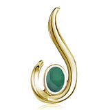 FANY Jewelry Women's Excellent Cut Yellow Gold Emerald May Birthstone 14 Solid Gold Necklace Pendant With Natural Mined Gemstone