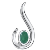 FANY Jewelry 0.39 ct Women's Classic 925 Sterling Emerald Silver Gemstone Necklace Pendant