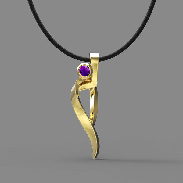 FANY Jewelry Gold Plated Ballet 0.925 Argentium Silver Amethyst February Stone Pendant Necklace Women Ideal Gift Excellent Cut