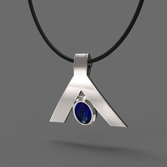 FANY Peace 0.39 ct Blue Sapphire September Birthstone Gemstone 0.925 Argentium Silver Necklace Pendant Mother's Day Gift