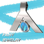 FANY Women's Stylish Peace Argentium Silver Pendant With 0.39 Ct Natural Blue Topaz Mother's Day Gift