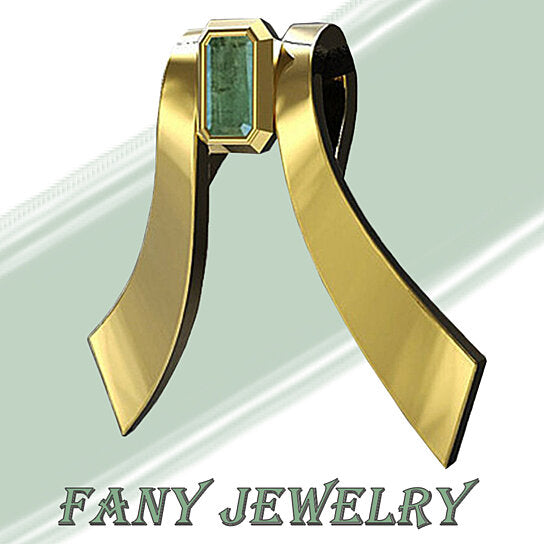 FANY 0.39 ct 925 Sterling Fly Bee Emerald Gold Plated Silver Gemstone Necklace Pendant May Birthstone Mother's Day Gift
