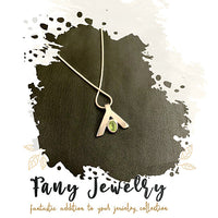 FANY Peace August Birthstone 0.925 Sterling Peridot Gemstone Women Argentium Silver Necklaces Pendant 0.39 ct Mother's Day Gift