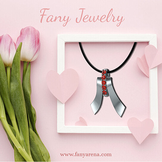 FANY Red Ruby July Birthstone Elegant Five Star Necklace Pendant Gemstone 0.39 Ct Argentium Silver Mother's Day Gift