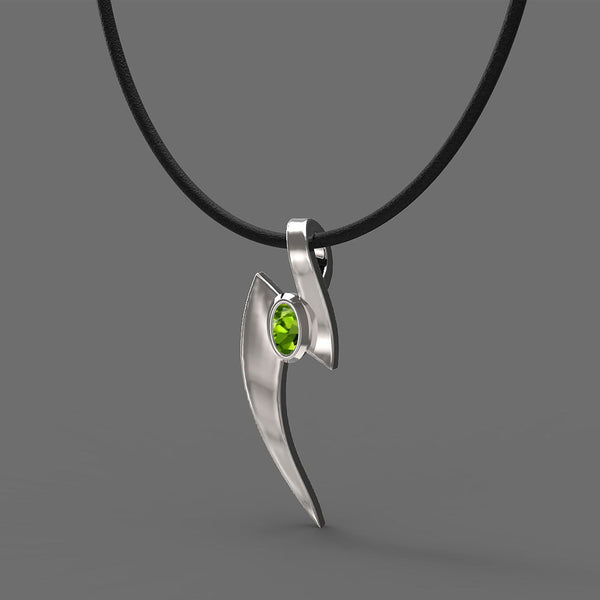 FANY Jewelry Nail August Birthstone 0.925 Sterling Peridot Gemstone Women Charm Argentium Silver Necklaces Pendant 0.39 ct Perfect Gift
