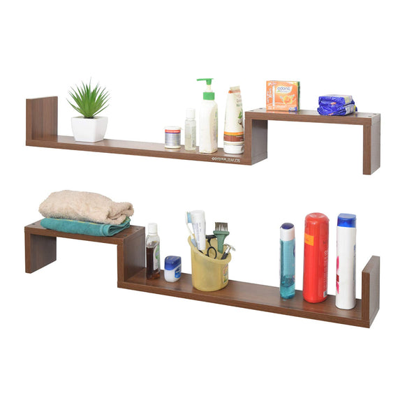 Ripplewuds Multi-Purpose Crest Bathroom Shelf - Wall Mount - Pack of 2 (Walnut)