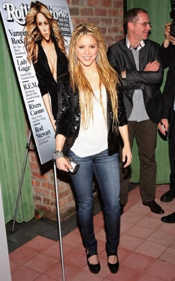 Shakira wearing Genetic Denim James Skinny Zip Jeans in Twilight