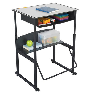"Safco AlphaBetter® Adjustable-Height Stand-Up Desk, 28 x 20"" Premium or Dry Erase Top, Book Box and Swinging Footrest Bar"