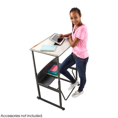 "Safco AlphaBetter® Adjustable-Height Stand-Up Desk, 36 x 24"" Premium or Dry Erase Top, Book Box and Swinging Footrest Bar"