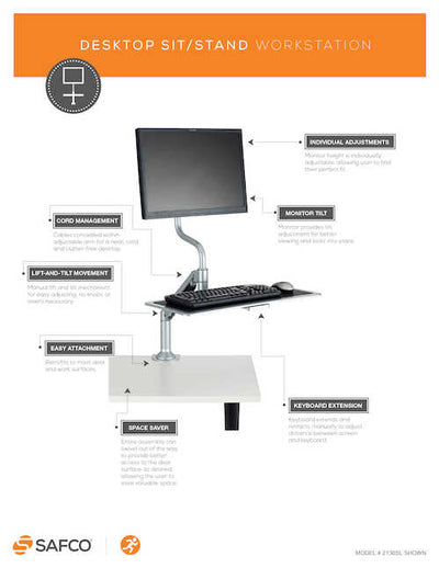 Safco Desktop Sit/Stand Workstation