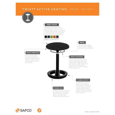Safco Twixt® Active Seating Chair, Desk-Height