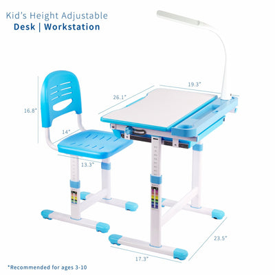 Kids' Height Adjustable Desk and Chair