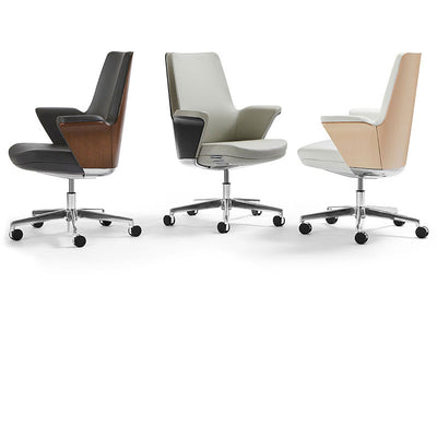 Humanscale Summa Executive Conference Chair - Upholstered Leather, Charcoal Leather