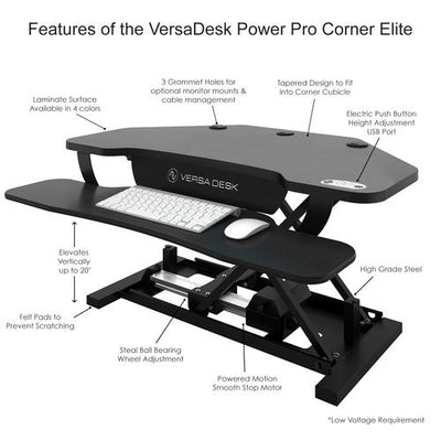 VersaDesk PowerPro® Elite Corner - Sit To Stand Electric Desk Converter With USB Charging Plug, Memory Setting And App Controllable