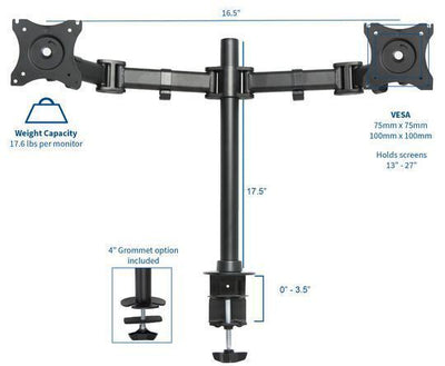 "Vivo 17.5"" tall Dual Monitor Desk Mount. STAND-V002M"