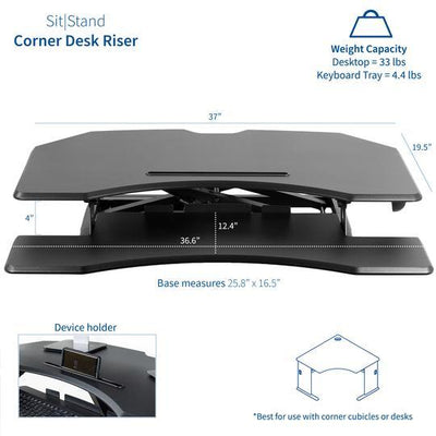 "Vivo Black 37"" Corner Desk Riser. DESK-V037MC"