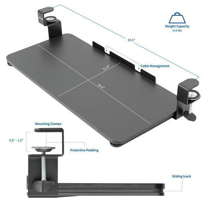 Vivo Black Clamp-on Keyboard Tray MOUNT-KB05F