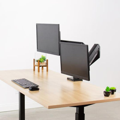 Vivo Pneumatic Arm Dual Monitor Desk Mount with USB STAND-V102G2U
