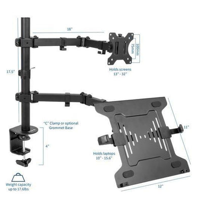 Vivo Single Monitor and Laptop Desk Mount STAND-V102C