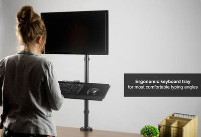 Vivo Sit to Stand Single Monitor Desk Mount Workstation