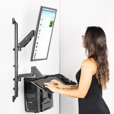 Vivo Sit to Stand Single Monitor Wall Mount Workstation