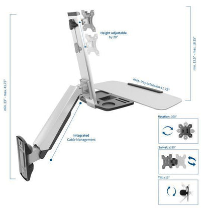 Vivo Sit to Stand Single Monitor Wall Mount Workstation - Silver
