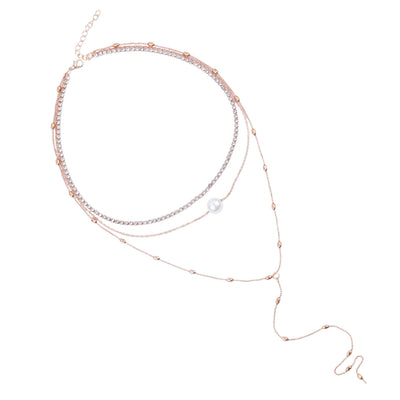 Women Three Layers Pearl Necklace
