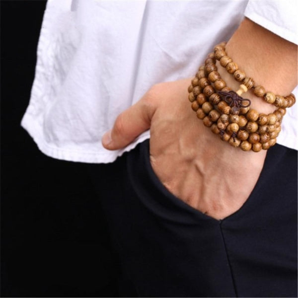 Men 108 Wooden Beaded Bracelet