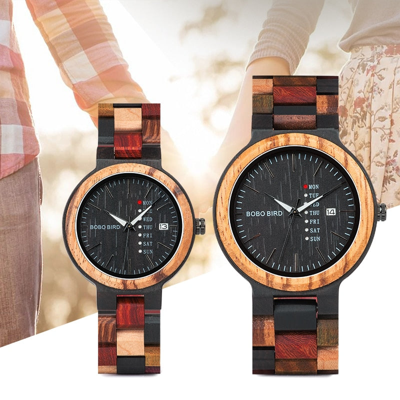 Men's Wood Watch - Lover Quartz Couple Wristwatch Gift With Wood Box
