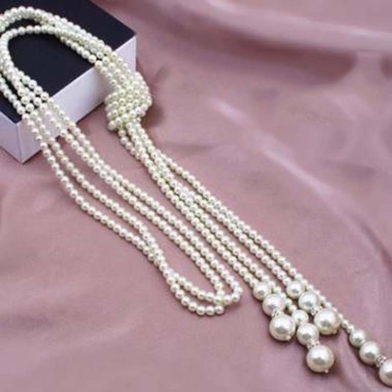 Women beaded long necklace