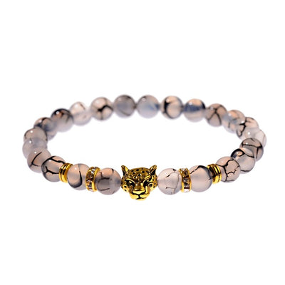 Leopard Head Beaded Bracelet - Men's Natural Stone Bracelet 2019