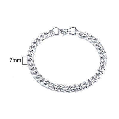 Men's Curb Cuban Link Chain Bracelet - Stainless Steel Wrist Chain