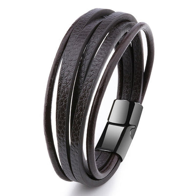 Men's Multilayer Leather Bracelet - Mood Tracker Wrist Rope Chain