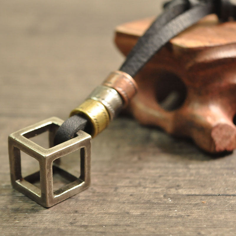 Men Cube Leather Necklace