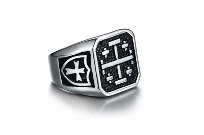 Man Medieval Cross Signet Ring