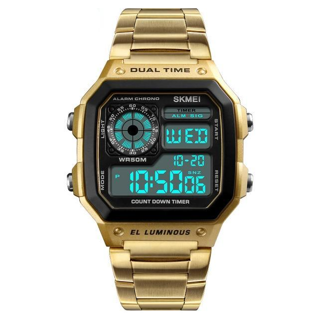 Man Digital Stainless Steel Watches