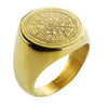 Men compass gold/black color ring