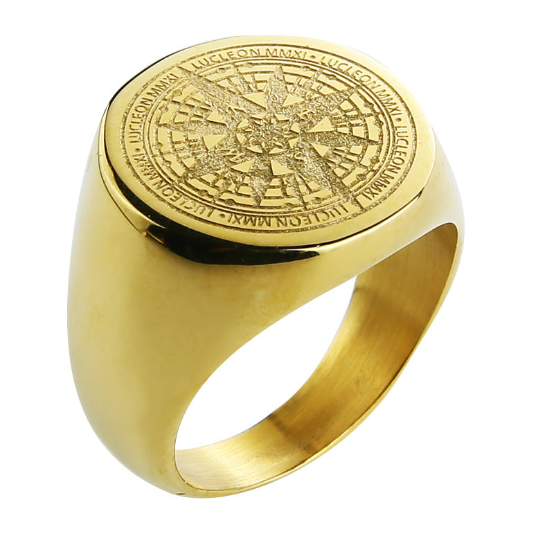 Man compass gold/black color ring