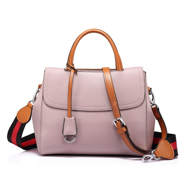 woman wide strap shoulder handbag