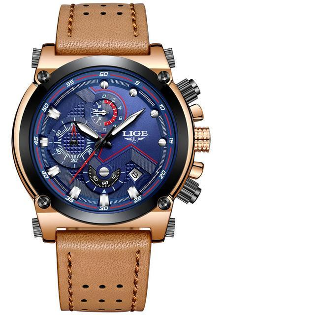 Man Luxury Brown Leather Watch