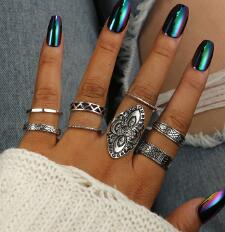 5pc/Set Fashion High Quality Bohemia Style Rings Set - Women's Jewelry