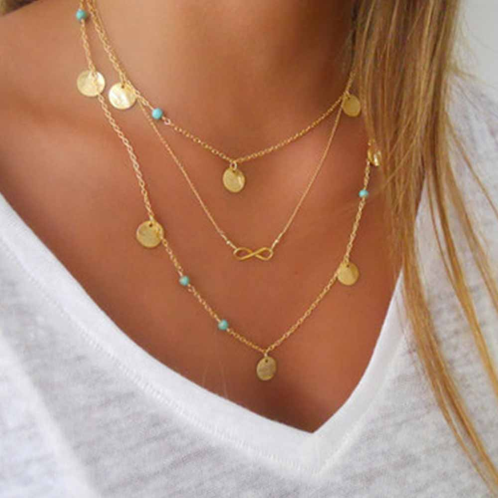 Women Boho Infinity Multi Layer Necklace